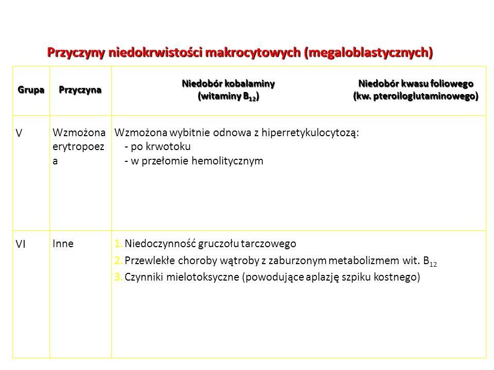 Przyczyny niedokrwistości makrocytowych (megaloblastycznych) Wzmożona wybitnie odnowa z hiperretykulocytozą: - po krwotoku - w przełomie hemolitycznym