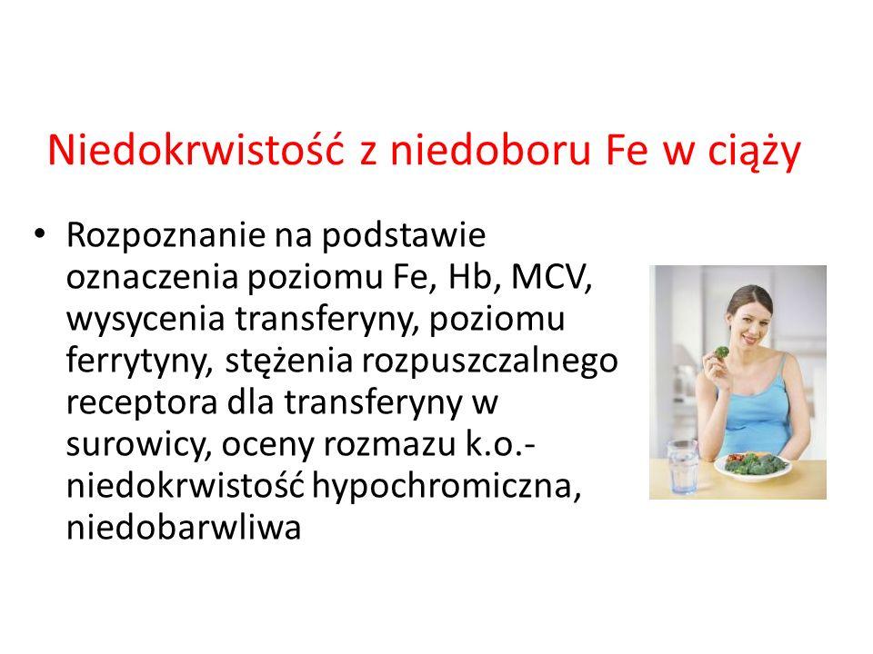 Niedokrwistość z niedoboru Fe w ciąży Rozpoznanie na podstawie oznaczenia poziomu Fe, Hb, MCV, wysycenia transferyny, poziomu ferrytyny, stężenia rozp