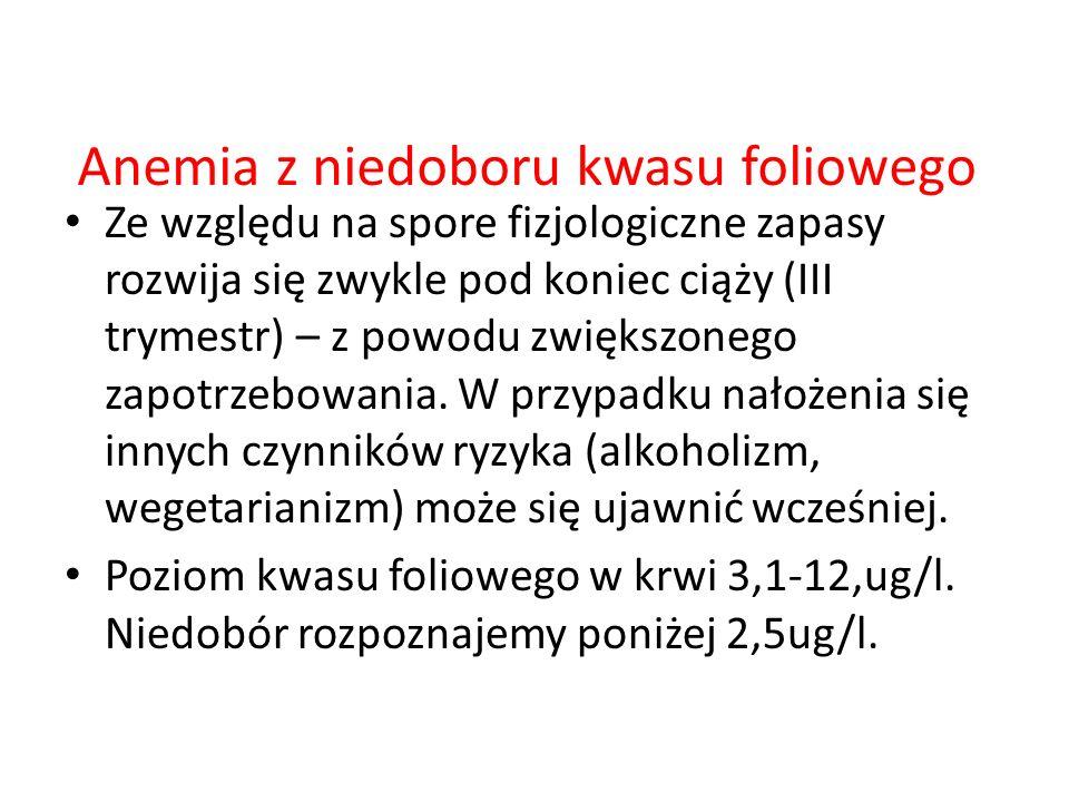 Anemia z niedoboru kwasu foliowego Ze względu na spore fizjologiczne zapasy rozwija się zwykle pod koniec ciąży (III trymestr) – z powodu zwiększonego