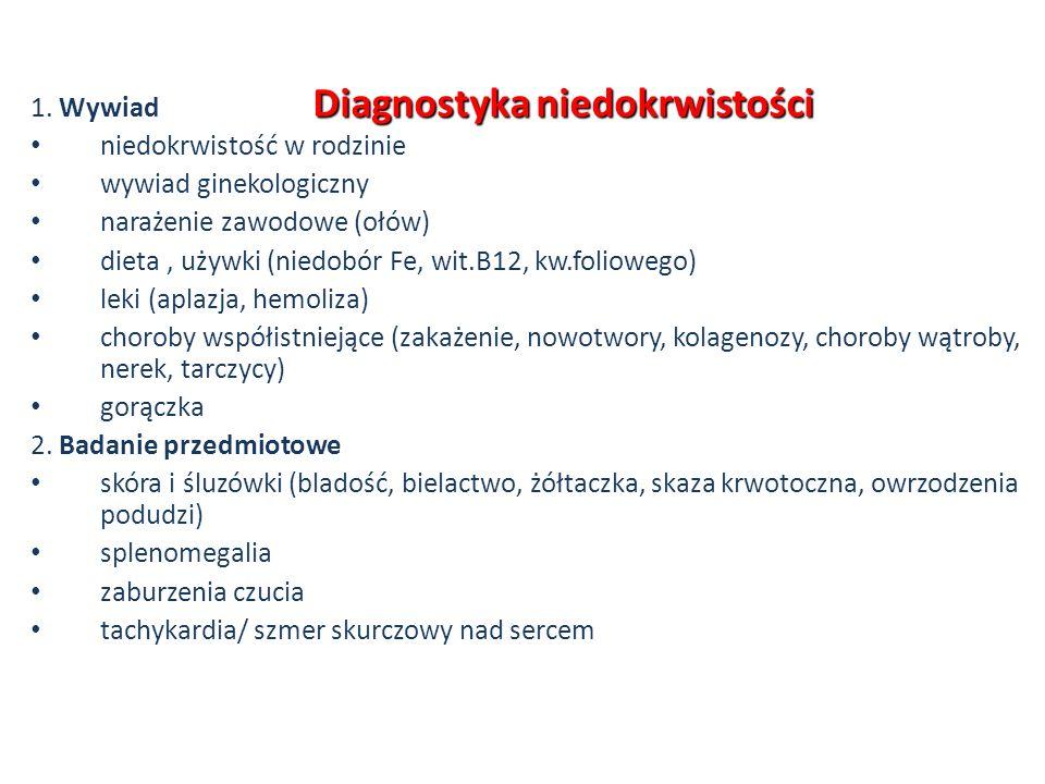 Diagnostyka niedokrwistości 1. Wywiad niedokrwistość w rodzinie wywiad ginekologiczny narażenie zawodowe (ołów) dieta, używki (niedobór Fe, wit.B12, k