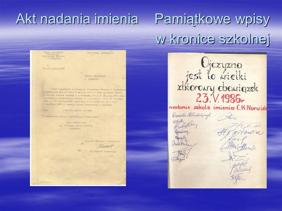 Akt nadania imienia Pamiątkowe wpisy w kronice szkolnej