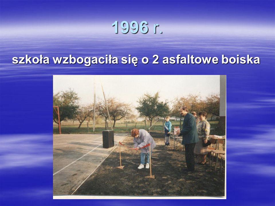 1996 r. szkoła wzbogaciła się o 2 asfaltowe boiska