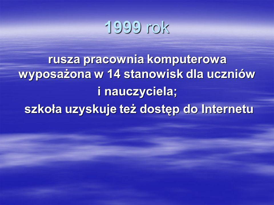 1999 rok rusza pracownia komputerowa wyposażona w 14 stanowisk dla uczniów i nauczyciela; szkoła uzyskuje też dostęp do Internetu szkoła uzyskuje też