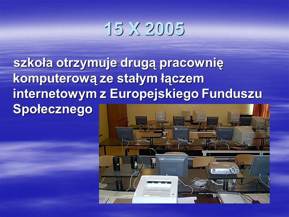 15 X 2005 szkoła otrzymuje drugą pracownię komputerową ze stałym łączem internetowym z Europejskiego Funduszu Społecznego