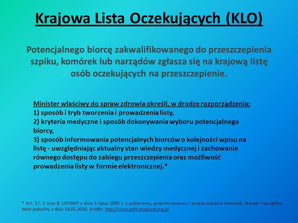 Krajowy Rejestr Przeszczepień (KRP) W rejestrze przeszczepień zamieszcza się następujące dane: 1) imię i nazwisko oraz adres miejsca zamieszkania biorcy przeszczepu; 2) datę i miejsce urodzenia biorcy przeszczepu; 3) numer PESEL biorcy przeszczepu, jeżeli posiada; 4) datę przeszczepienia; 5) rodzaj przeszczepionych komórek, tkanek lub narządów; 6) nazwę i adres zakładu opieki zdrowotnej, w którym dokonano przeszczepienia; 7) informacje dotyczące przeżycia biorcy oraz przeszczepu w okresie 3 i 12 miesięcy, po przeszczepieniu, a następnie w odstępach co 12 miesięcy, aż do utraty przeszczepu lub zgonu biorcy przeszczepu.* * Art.