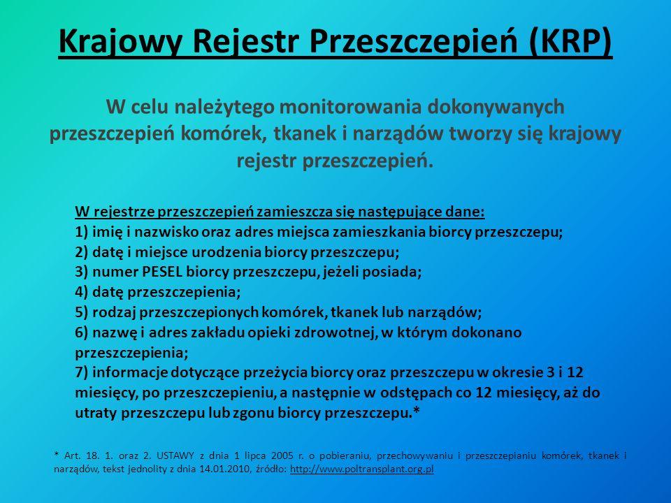 Krajowy Rejestr Przeszczepień (KRP) W rejestrze przeszczepień zamieszcza się następujące dane: 1) imię i nazwisko oraz adres miejsca zamieszkania bior