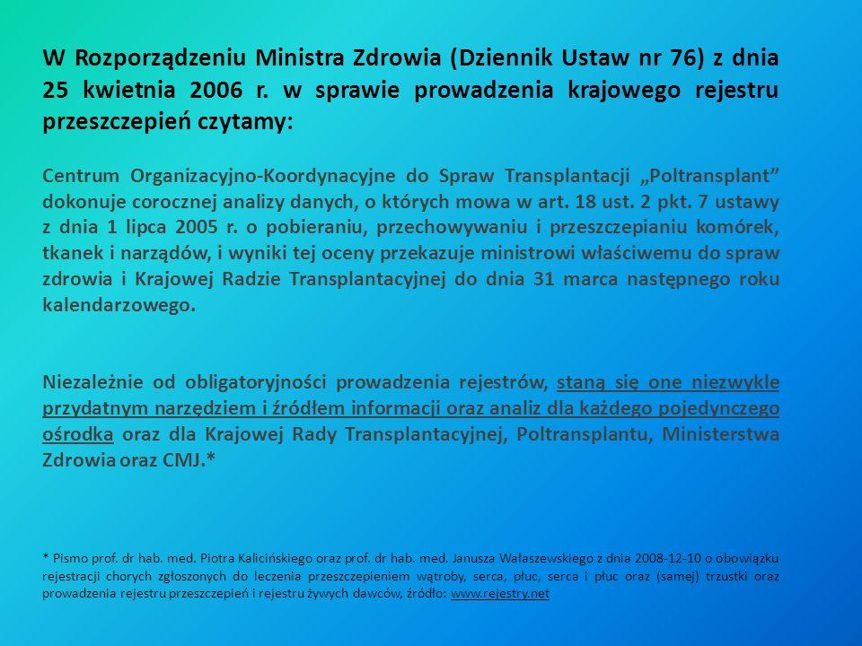 W Rozporządzeniu Ministra Zdrowia (Dziennik Ustaw nr 76) z dnia 25 kwietnia 2006 r. w sprawie prowadzenia krajowego rejestru przeszczepień czytamy: Ce