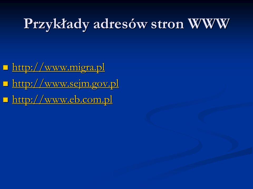 Przykłady adresów stron WWW http://www.migra.pl http://www.migra.pl http://www.migra.pl http://www.sejm.gov.pl http://www.sejm.gov.pl http://www.sejm.