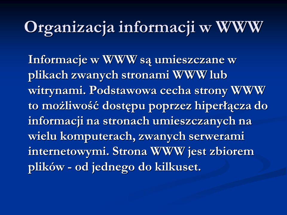 Organizacja informacji w WWW Informacje w WWW są umieszczane w plikach zwanych stronami WWW lub witrynami. Podstawowa cecha strony WWW to możliwość do
