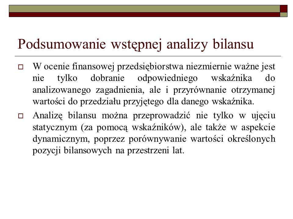 Podsumowanie wstępnej analizy bilansu W ocenie finansowej przedsiębiorstwa niezmiernie ważne jest nie tylko dobranie odpowiedniego wskaźnika do analiz