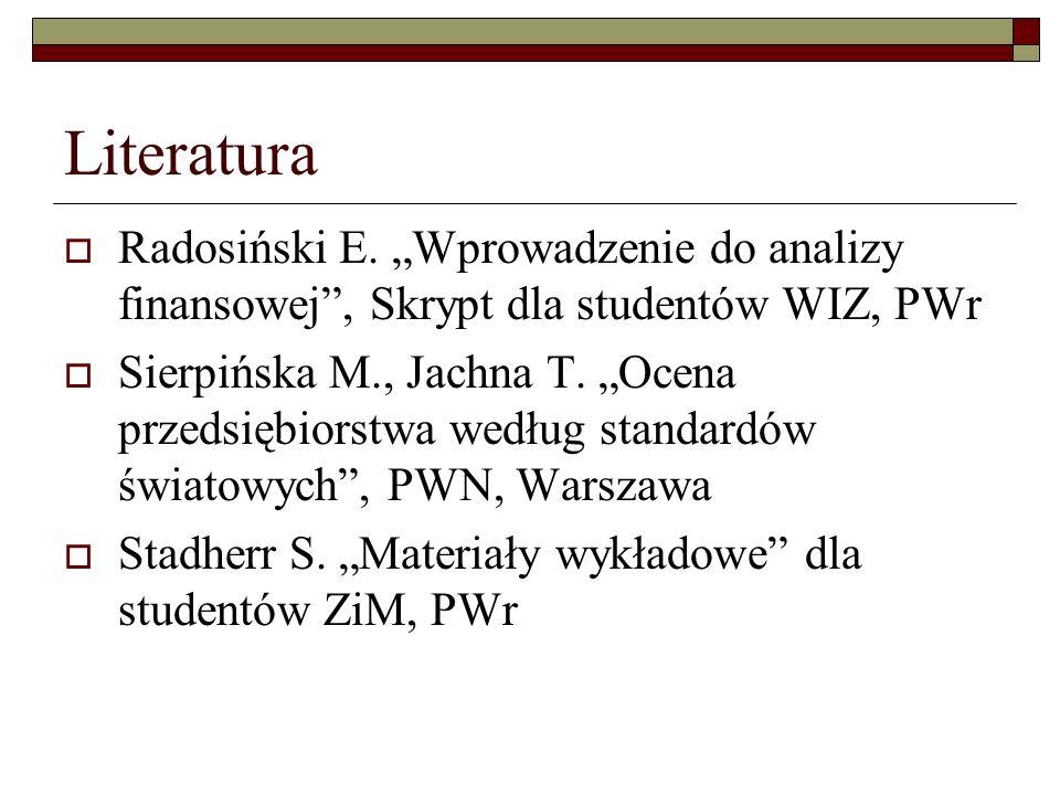 Literatura Radosiński E. Wprowadzenie do analizy finansowej, Skrypt dla studentów WIZ, PWr Sierpińska M., Jachna T. Ocena przedsiębiorstwa według stan