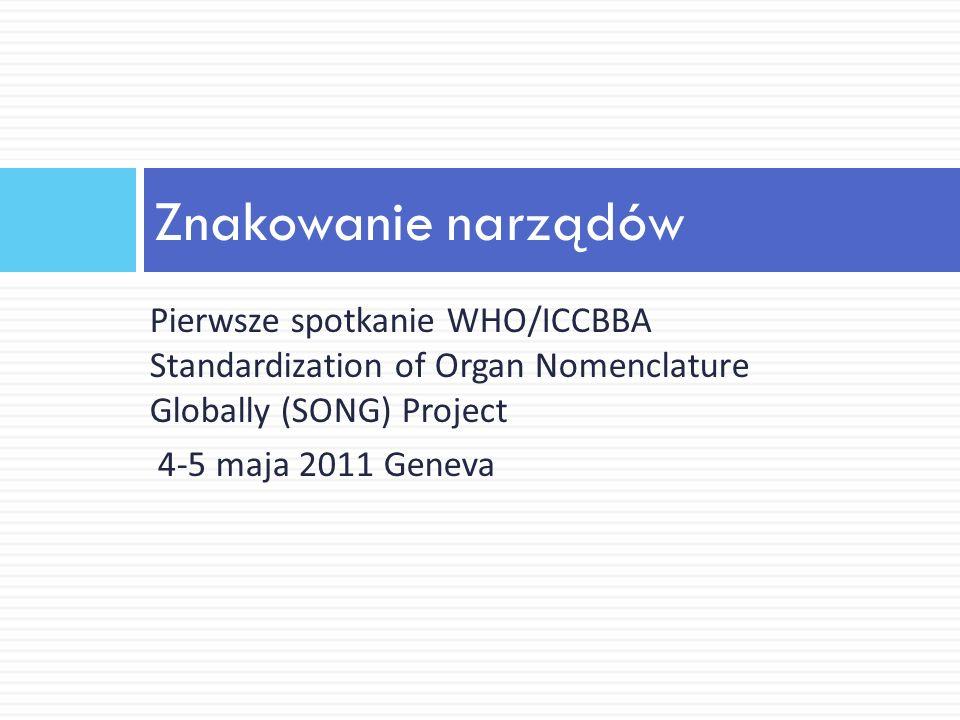 Nomenklatura dla narządów Proces rozwoju nazewnictwa przeprowadzany w trzech etapach: stworzenie poziomu kategorii narządów, niezależnie od charakterystyki donacji/dawcy, odpowiednio do przeszczepienia analiza odpowiedniości charakterystyk do celów przeszczepienia (dla każdej kategorii narządów) zgromadzenie wszystkich informacji według typów, tzn.