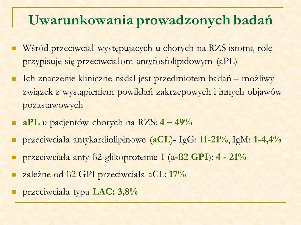 Uwarunkowania prowadzonych badań Wśród przeciwciał występujacych u chorych na RZS istotną rolę przypisuje się przeciwciałom antyfosfolipidowym (aPL) I