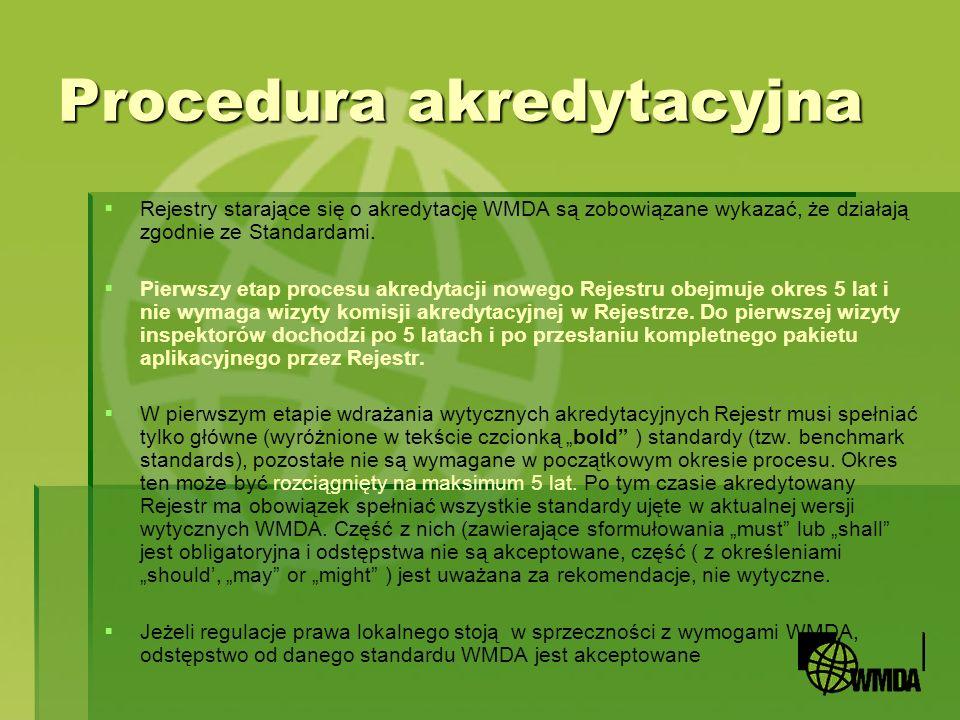Procedura akredytacyjna Rejestry starające się o akredytację WMDA są zobowiązane wykazać, że działają zgodnie ze Standardami. Pierwszy etap procesu ak