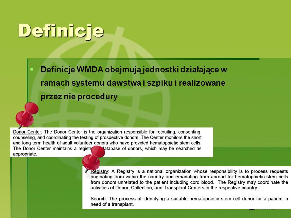Definicje Definicje WMDA obejmują jednostki działające w ramach systemu dawstwa i szpiku i realizowane przez nie procedury