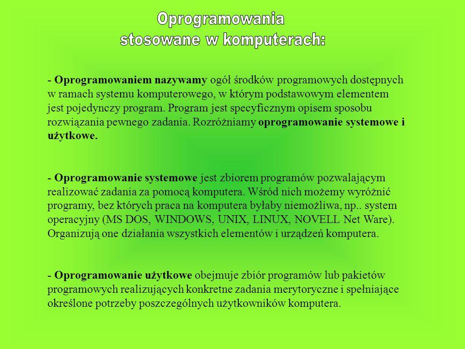 - Oprogramowaniem nazywamy ogół środków programowych dostępnych w ramach systemu komputerowego, w którym podstawowym elementem jest pojedynczy program