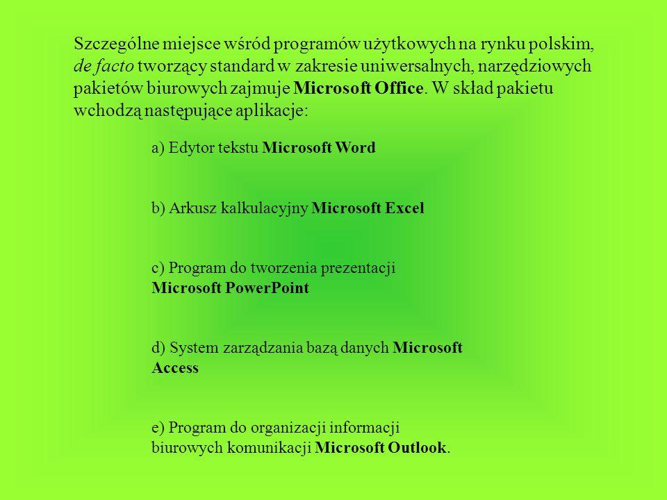 Szczególne miejsce wśród programów użytkowych na rynku polskim, de facto tworzący standard w zakresie uniwersalnych, narzędziowych pakietów biurowych