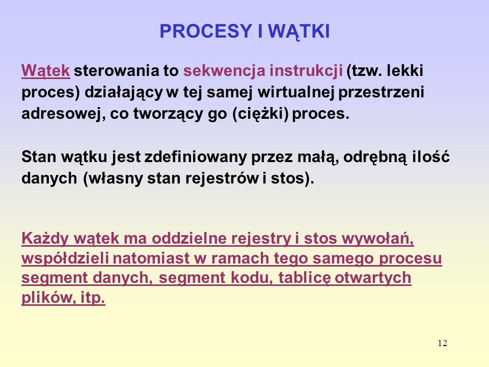 12 PROCESY I WĄTKI Wątek sterowania to sekwencja instrukcji (tzw. lekki proces) działający w tej samej wirtualnej przestrzeni adresowej, co tworzący g