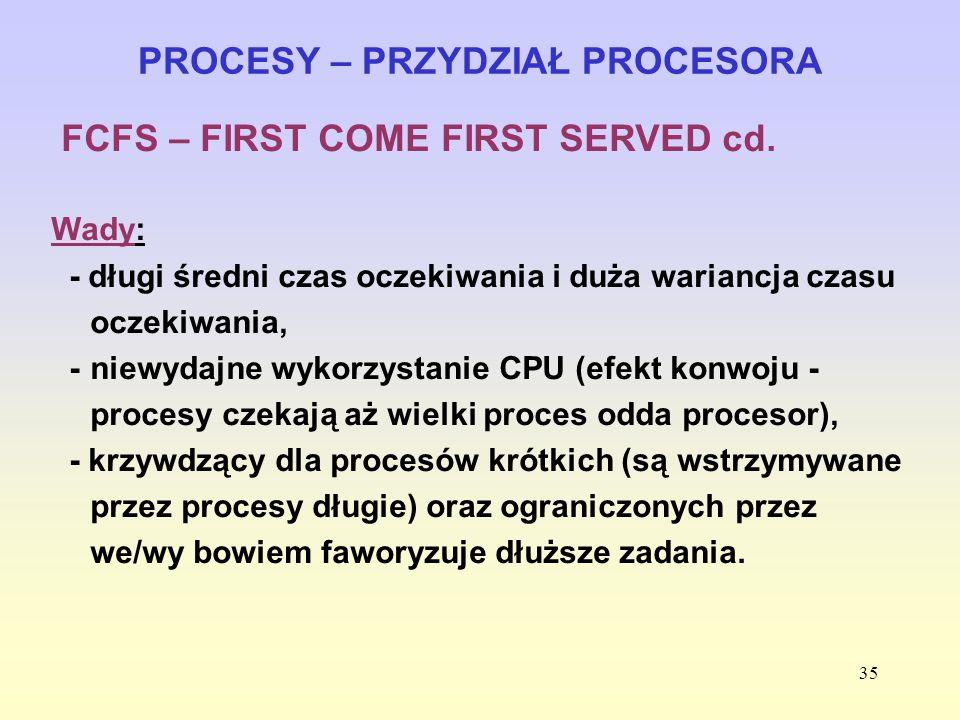 35 PROCESY – PRZYDZIAŁ PROCESORA FCFS – FIRST COME FIRST SERVED cd. Wady: - długi średni czas oczekiwania i duża wariancja czasu oczekiwania, - niewyd