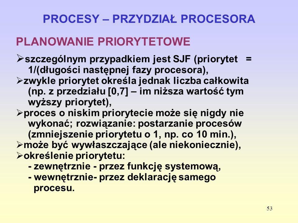 53 PROCESY – PRZYDZIAŁ PROCESORA PLANOWANIE PRIORYTETOWE szczególnym przypadkiem jest SJF (priorytet = 1/(długości następnej fazy procesora), zwykle p