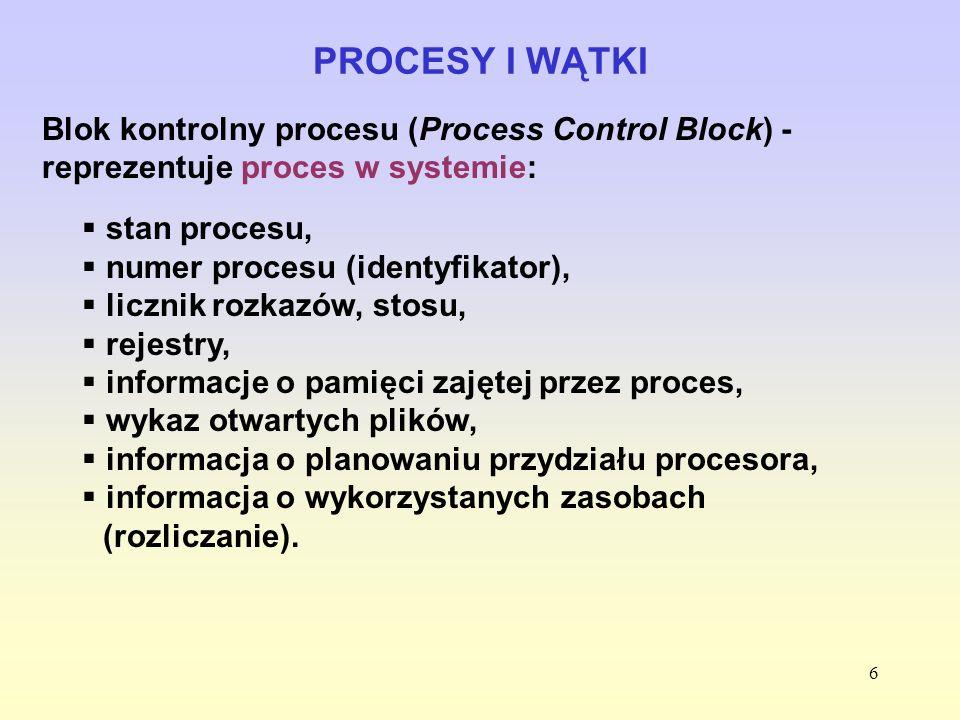 6 PROCESY I WĄTKI Blok kontrolny procesu (Process Control Block) - reprezentuje proces w systemie: stan procesu, numer procesu (identyfikator), liczni