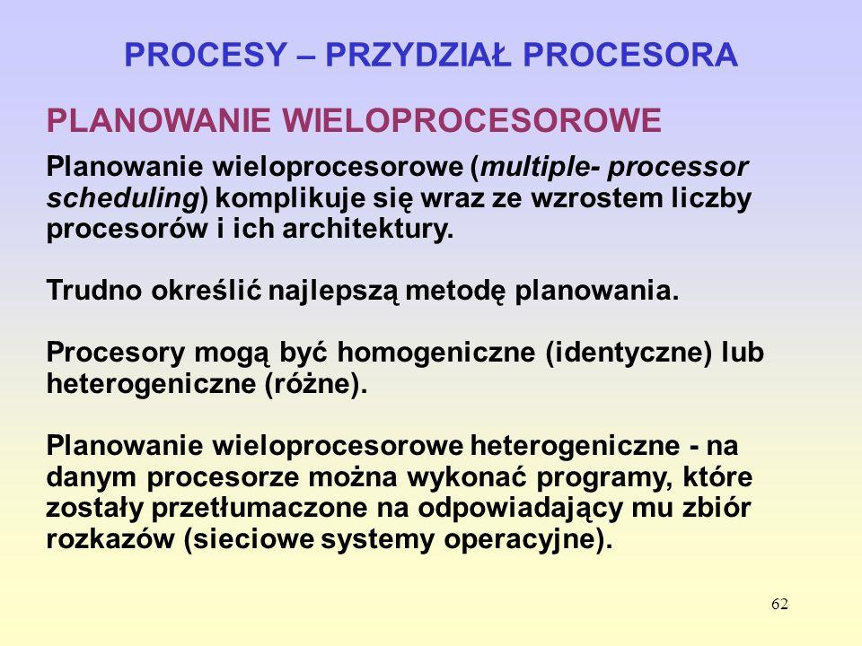 62 PROCESY – PRZYDZIAŁ PROCESORA PLANOWANIE WIELOPROCESOROWE Planowanie wieloprocesorowe (multiple- processor scheduling) komplikuje się wraz ze wzros