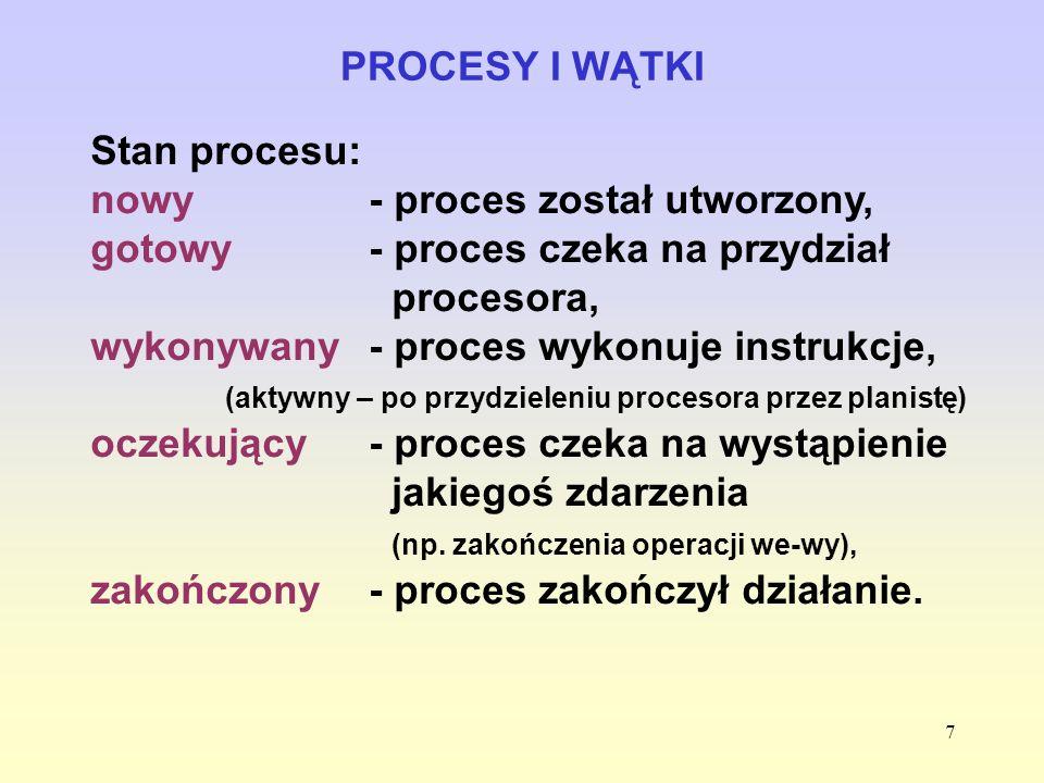7 PROCESY I WĄTKI Stan procesu: nowy- proces został utworzony, gotowy - proces czeka na przydział procesora, wykonywany - proces wykonuje instrukcje,
