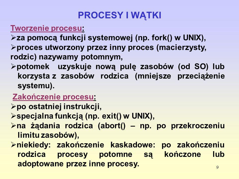 9 Tworzenie procesu: za pomocą funkcji systemowej (np. fork() w UNIX), proces utworzony przez inny proces (macierzysty, rodzic) nazywamy potomnym, pot