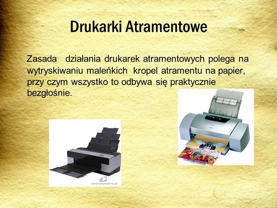 Drukarki Atramentowe Zasada działania drukarek atramentowych polega na wytryskiwaniu maleńkich kropel atramentu na papier, przy czym wszystko to odbyw