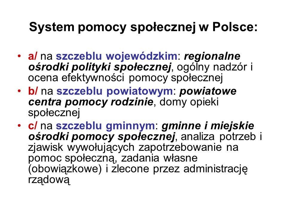 System pomocy społecznej w Polsce: a/ na szczeblu wojewódzkim: regionalne ośrodki polityki społecznej, ogólny nadzór i ocena efektywności pomocy społe