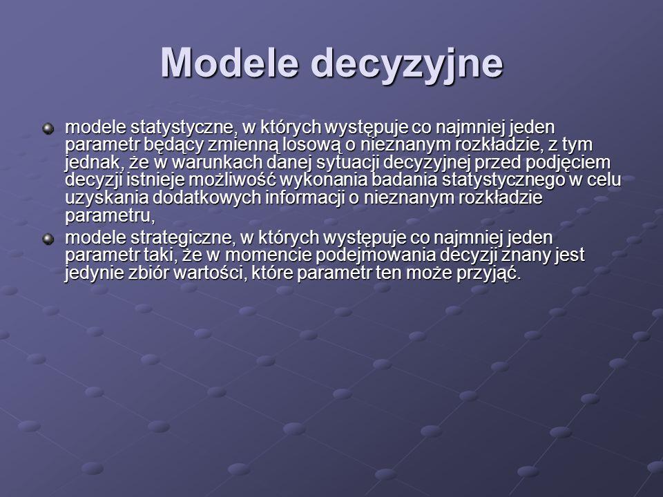 Modele decyzyjne modele statystyczne, w których występuje co najmniej jeden parametr będący zmienną losową o nieznanym rozkładzie, z tym jednak, że w
