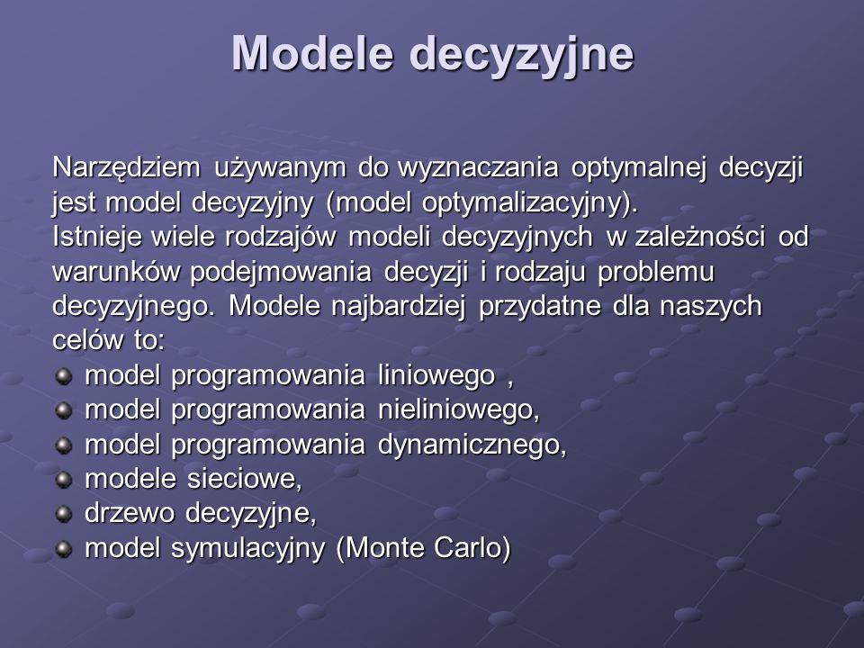 Modele decyzyjne Narzędziem używanym do wyznaczania optymalnej decyzji jest model decyzyjny (model optymalizacyjny). Istnieje wiele rodzajów modeli de
