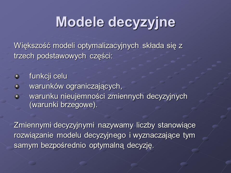 Modele decyzyjne Większość modeli optymalizacyjnych składa się z trzech podstawowych części: funkcji celu warunków ograniczających, warunku nieujemnoś