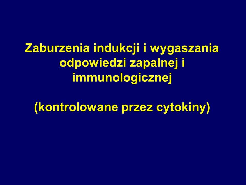 Zaburzenia indukcji i wygaszania odpowiedzi zapalnej i immunologicznej (kontrolowane przez cytokiny)