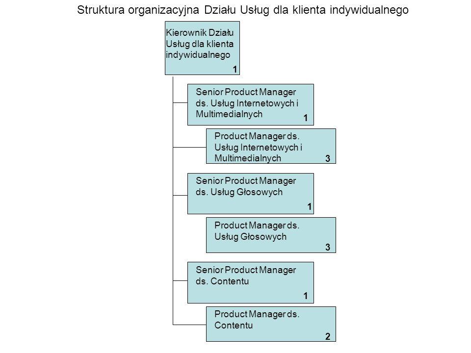 Kierownik Działu Usług dla klienta biznesowego Struktura organizacyjna Działu Usług dla klienta biznesowego 1 Product Manager Usług dla klienta biznesowego 1 1