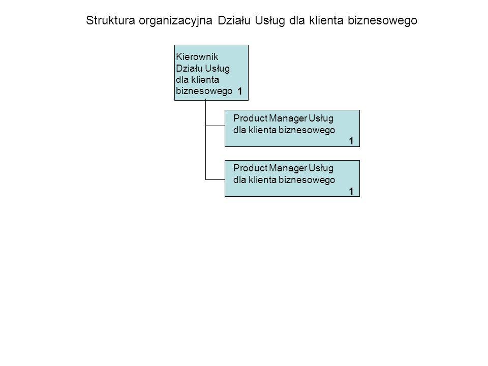 Kierownik Działu Usług dla klienta biznesowego Struktura organizacyjna Działu Usług dla klienta biznesowego 1 Product Manager Usług dla klienta biznes
