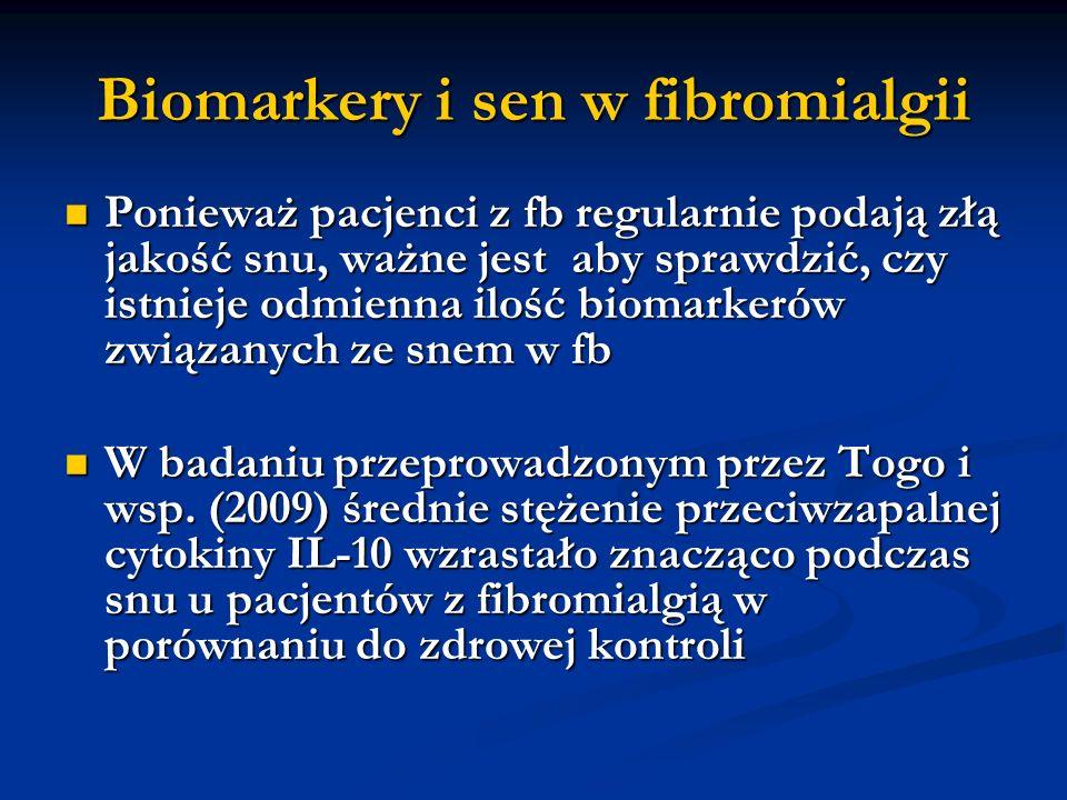 Ponadto proporcje pomiędzy pro- i przeciwzapalnymi cytokinami były w dowolnym czasie zmniejszone u pacjentów z fibromialgią, a nagły wzrost stężenia cytokin przeciwzapalnych nie był kompensowany poprzez wzrost cytokin pro-zapalnych Ponadto proporcje pomiędzy pro- i przeciwzapalnymi cytokinami były w dowolnym czasie zmniejszone u pacjentów z fibromialgią, a nagły wzrost stężenia cytokin przeciwzapalnych nie był kompensowany poprzez wzrost cytokin pro-zapalnych Ponieważ przeciwzapalne cytokiny są znanym czynnikiem wyzwalającym zaburzenia snu, jeżeli ich efekt nie jest kompensowany wzrostem poziomu pro-zapalnych cytokin, odkrycia Togo i in.