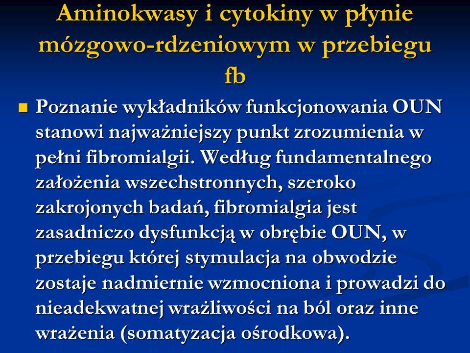 Aminokwasy i cytokiny w płynie mózgowo-rdzeniowym w przebiegu fb Poznanie wykładników funkcjonowania OUN stanowi najważniejszy punkt zrozumienia w peł