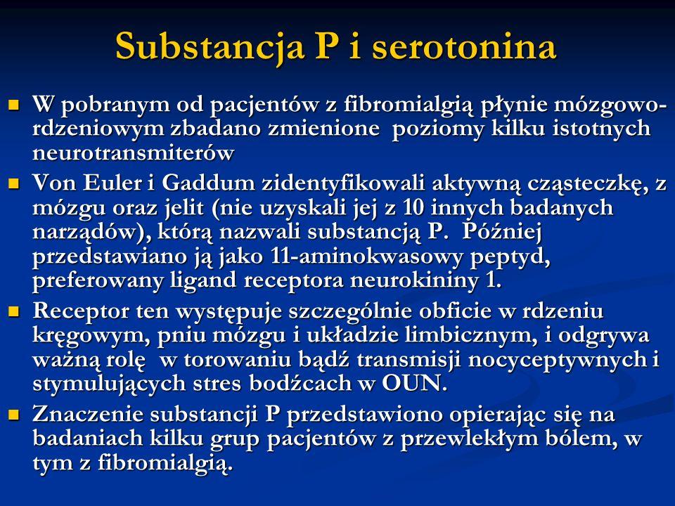 Substancja P i serotonina W pobranym od pacjentów z fibromialgią płynie mózgowo- rdzeniowym zbadano zmienione poziomy kilku istotnych neurotransmiteró