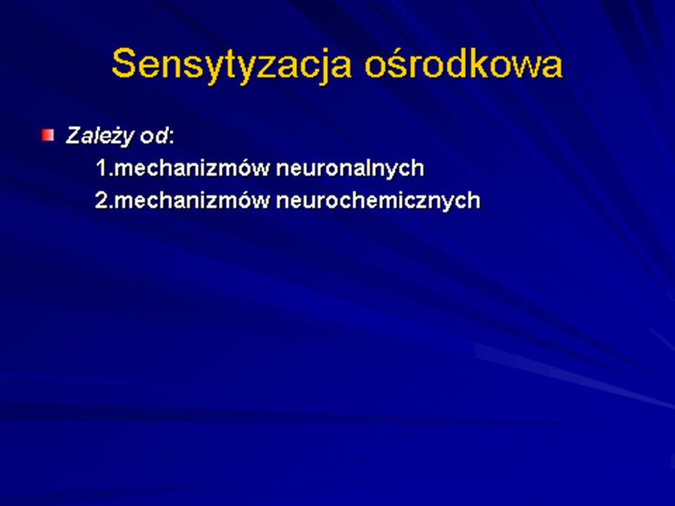 Mechanizmy neuronalne Mechanizmy neuronalne to zwiększenie spontanicznej aktywności neuronalnej, powiększenie pól percepcji i wzmocnienie odpowiedzi na bodźce przewodzone przez pierwotne grube i cienkie włókna wstępujące.