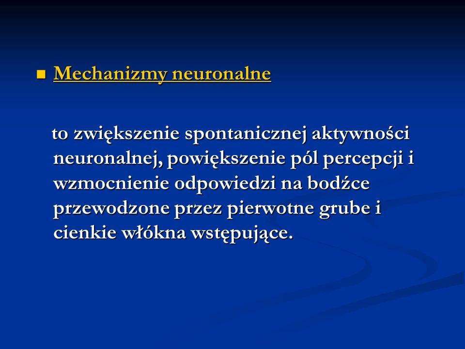 Mechanizmy neurochemiczne Mechanizmy neurochemiczne udział w procesie sensytyzacji ośrodkowej: udział w procesie sensytyzacji ośrodkowej: 1.