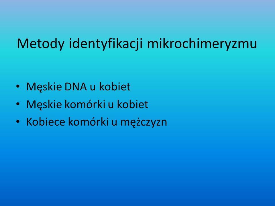 Metody identyfikacji mikrochimeryzmu Męskie DNA u kobiet Męskie komórki u kobiet Kobiece komórki u mężczyzn