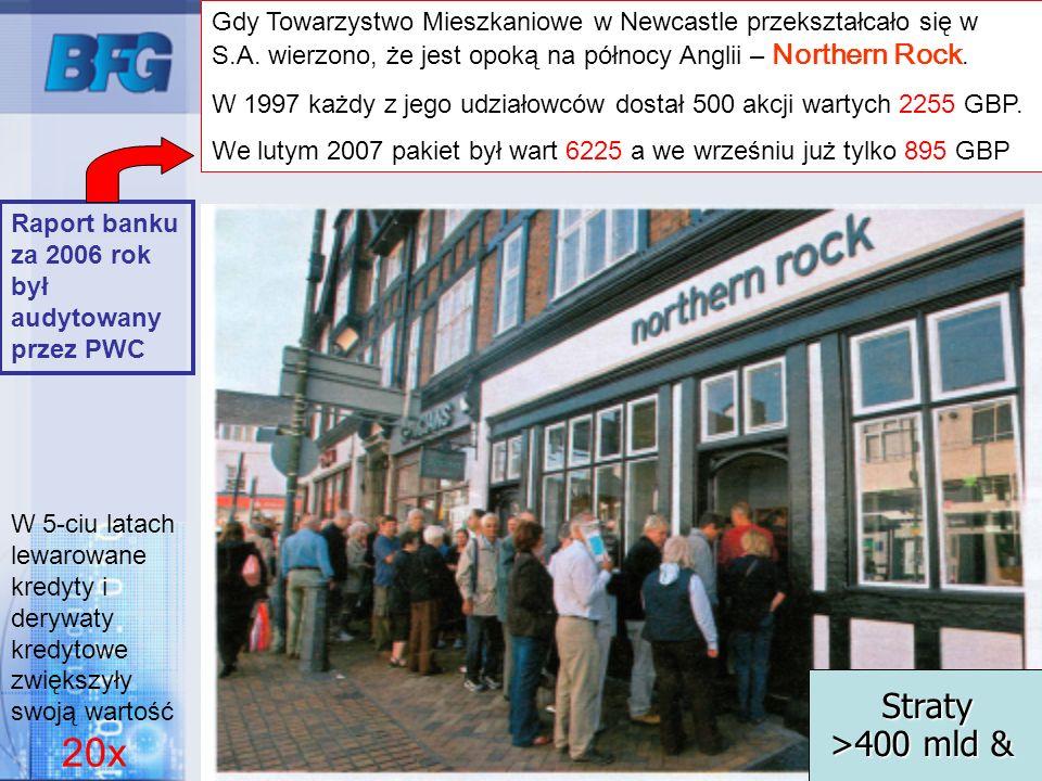 15 Gdy Towarzystwo Mieszkaniowe w Newcastle przekształcało się w S.A. wierzono, że jest opoką na północy Anglii – Northern Rock. W 1997 każdy z jego u