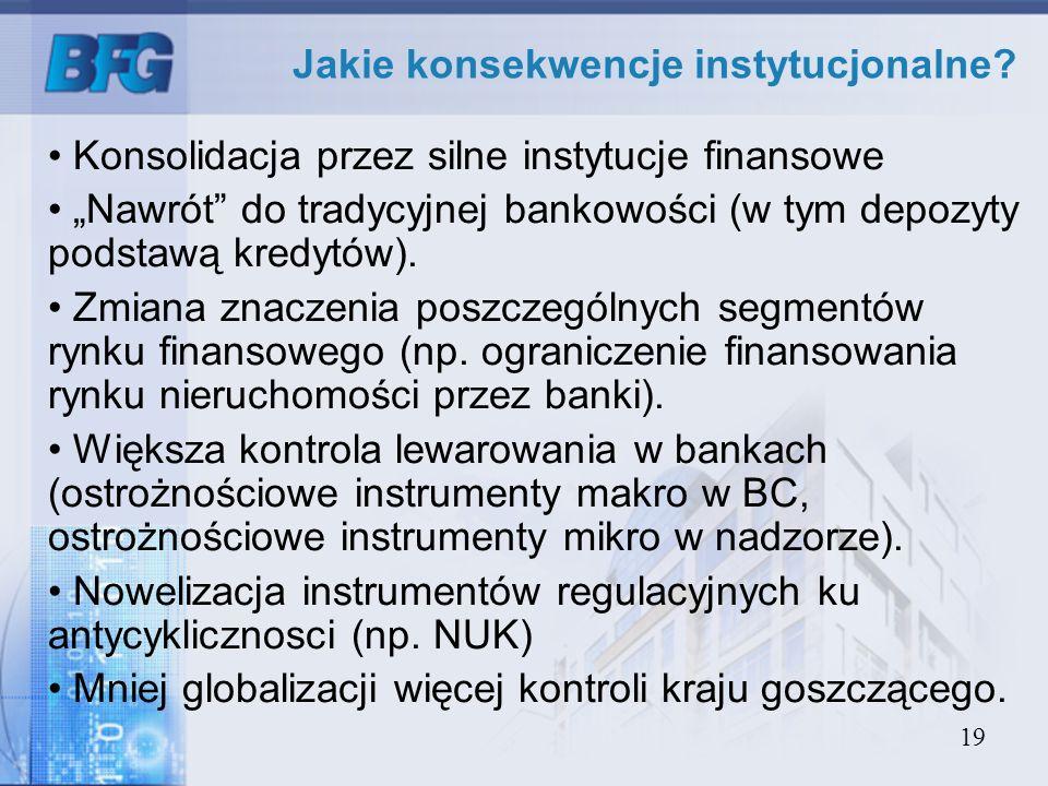 19 Jakie konsekwencje instytucjonalne? Konsolidacja przez silne instytucje finansowe Nawrót do tradycyjnej bankowości (w tym depozyty podstawą kredytó