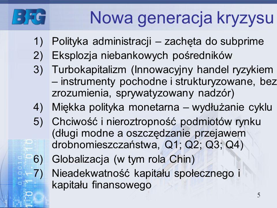 5 Nowa generacja kryzysu 1)Polityka administracji – zachęta do subprime 2)Eksplozja niebankowych pośredników 3)Turbokapitalizm (Innowacyjny handel ryz