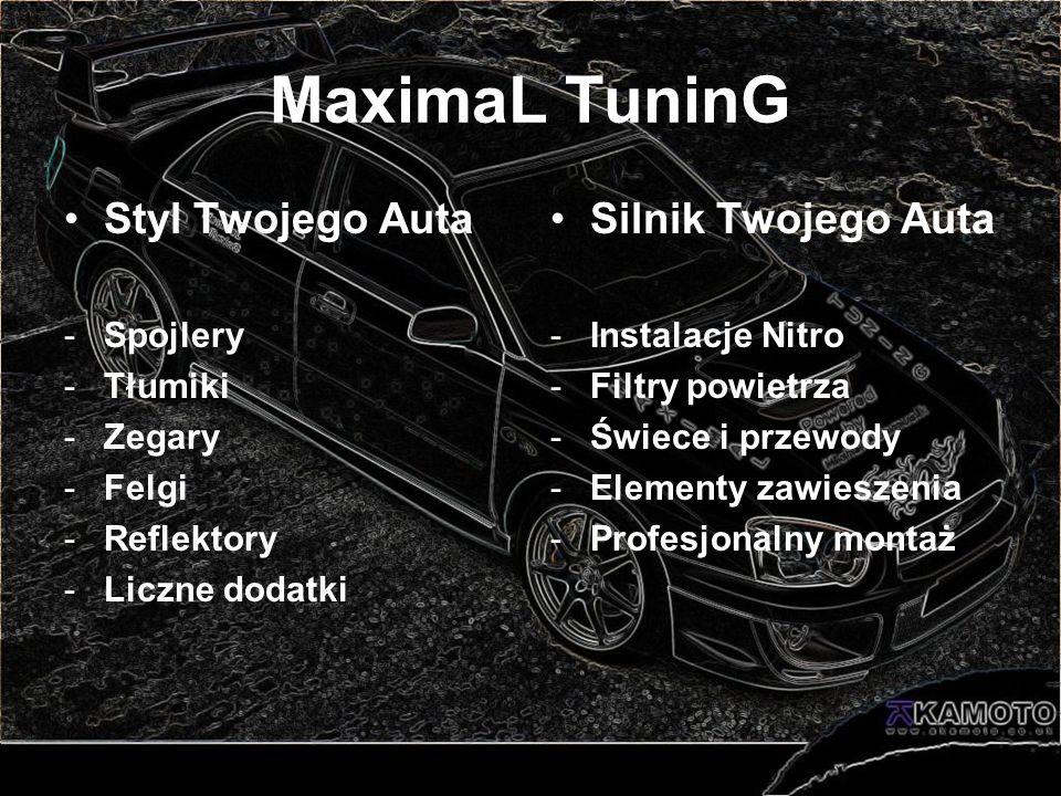 MaximaL TuninG Styl Twojego Auta -Spojlery -Tłumiki -Zegary -Felgi -Reflektory -Liczne dodatki Silnik Twojego Auta -Instalacje Nitro -Filtry powietrza