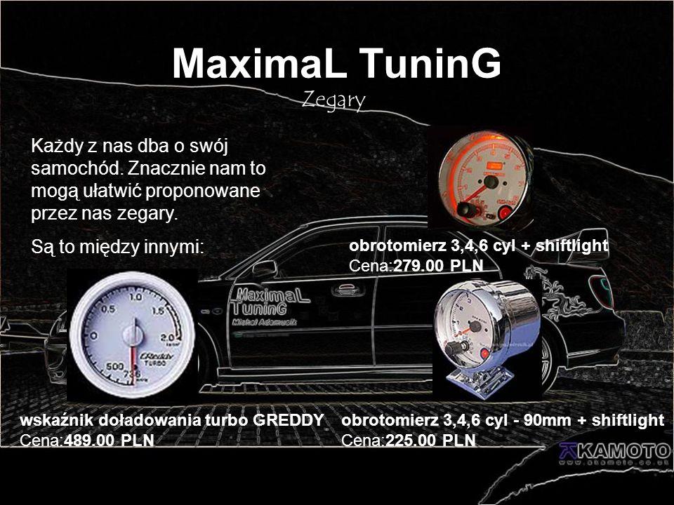 MaximaL TuninG Zegary Każdy z nas dba o swój samochód. Znacznie nam to mogą ułatwić proponowane przez nas zegary. Są to między innymi: obrotomierz 3,4