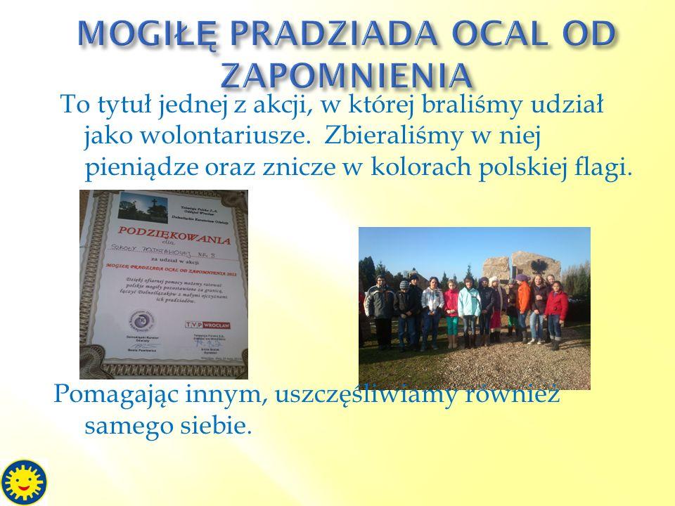 To tytuł jednej z akcji, w której braliśmy udział jako wolontariusze. Zbieraliśmy w niej pieniądze oraz znicze w kolorach polskiej flagi. Pomagając in