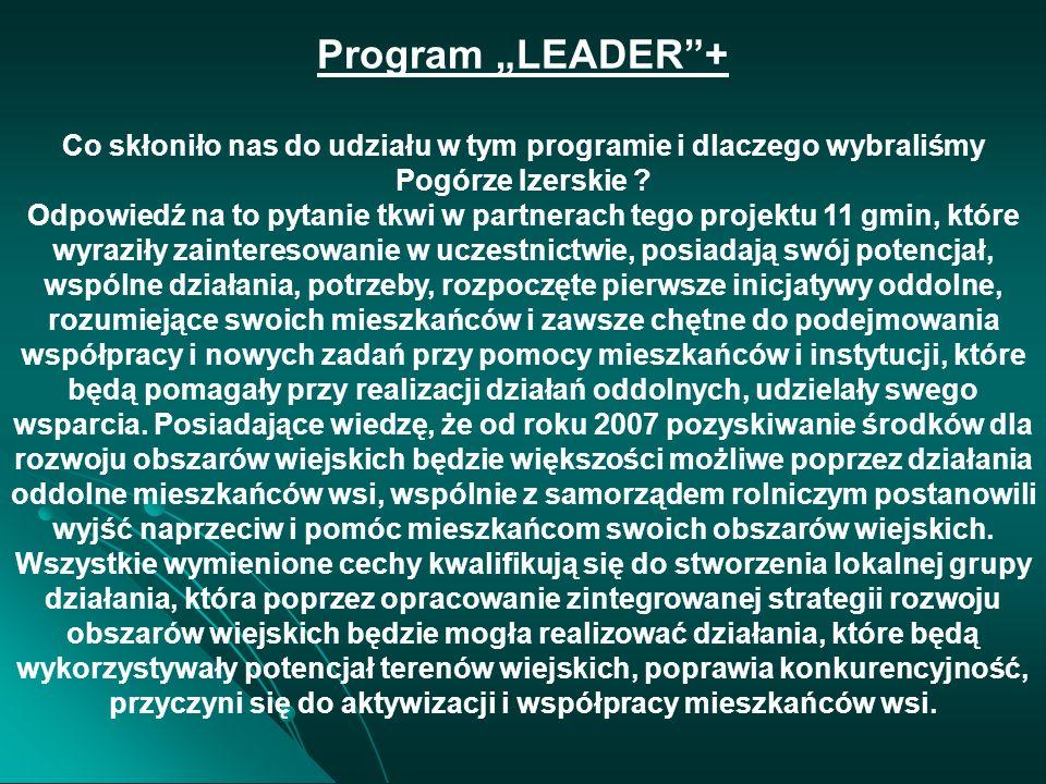 PROGRAM LEADER + PROJEKT REALIZOWANY: PROJEKT REALIZOWANY: PARTNERSTWO LOKALNE NA RZECZ ROZWOJU OBSZARÓW WIEJSKICH POGÓRZA IZERSKIEGO PARTNERZY – 11 G