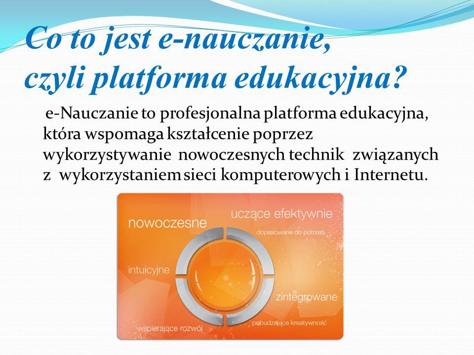 Co to jest e-nauczanie, czyli platforma edukacyjna? e-Nauczanie to profesjonalna platforma edukacyjna, która wspomaga kształcenie poprzez wykorzystywa